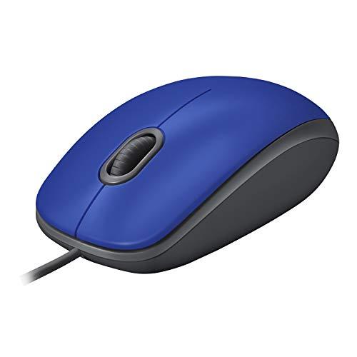Logitech M110 Mouse USB Cablato, Pulsanti Silenziosi, Design Comodo Full-Size, Mouse Ambidestro per PC Mac Laptop, Blu