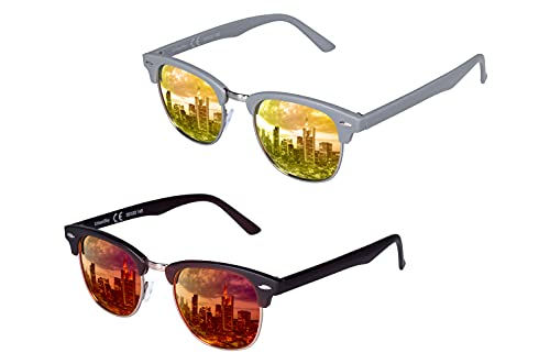 UrbanSky Gafas de sol 'D.B.' para hombre y mujer, 2 unidades, polarizadas, color gris, amarillo, marrón y naranja