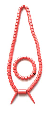 Authentic African Traditional Necklace, Handmade Cameroon, Bamenda,Nigerian Necklace, Igbo Necklace, Ngondo Douala Necklace with Bracelet (Orange) (1)