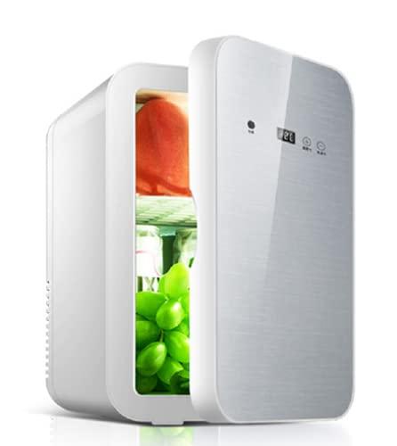 MATHOWAL Nevera Mini 8L Nevera Pequeña Portátil Bajo Consumo Mini Refrigerador Mini-frigorífico Mini Refrigerador Automóvil Doméstico Temperatura de Pantalla Digital Ajustable (Estrella de Plata)