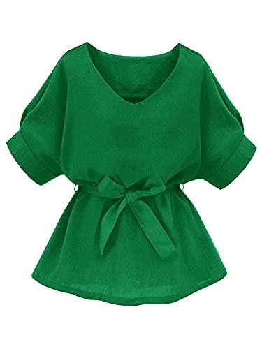 Milumia Women's Casual V Neckline Self Tie Short Sleeve Work Blouse Tunic Tops Green Medium