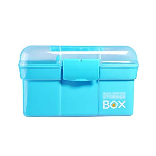 Boîte à Outils de manucure Boîte de Rangement Multifonction Multifonction à Deux Compartiments (Color : Blue, Taille : L)