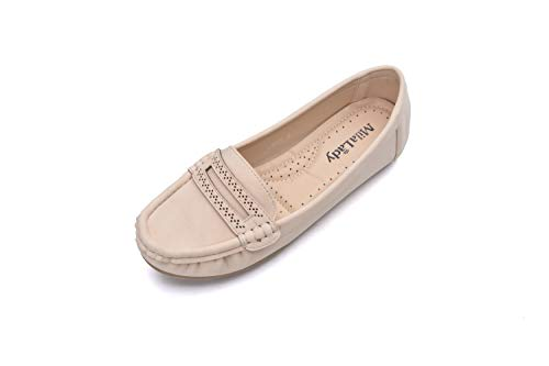 Comfortable Cushioned Insole Slip On Loafer Moccasins Flats Driving & Walking Shoes for Women, Angie Nude Size 10