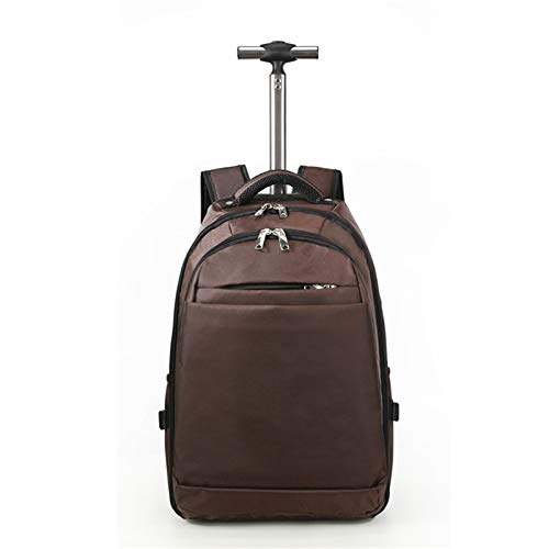 BCXS Business Rucksack with Wheels, Backpack with Wheels Hand Luggage, Wheeled Laptop Backpackfor Men Women, Compatible for 15.6 Inch Laptop,Brown