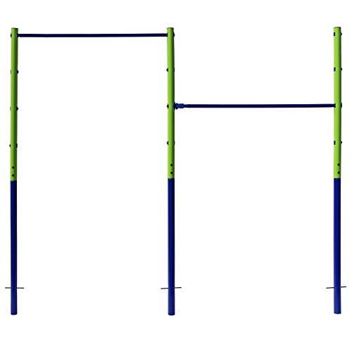 Best Sporting Garten-Turnreck Einzel- oder Doppel-Turn-Reck, Garten-Reck, grün-blau (Doppel - 241 cm)