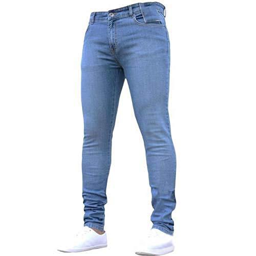 Pantalones de mezclilla elásticos no rasgados de los hombres pantalones largos de la cintura elástica de gran tamaño