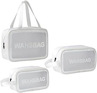 3Pcs Cosmetic Bag Vinyl Air Travel Toiletry Bags Bulk, Water Resistant PVC Packing Cubes with Zipper Closure & Carry Handl...