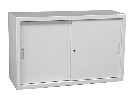 Schiebetürenschrank Schiebetüren Aktenschrank Sideboard aus Stahl grau 750 x 1200 x 450 mm (Höhe x Breite x Tiefe) 550125 kompl. montiert und verschweißt