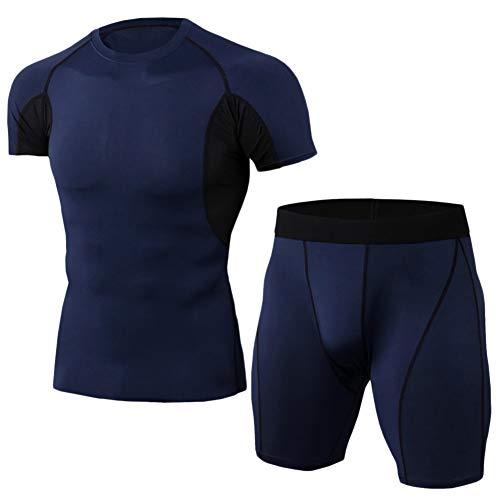 Conjunto Ropa De Compresión Hombre Camiseta De Manga Corta Y Pantalon Corto Deporte