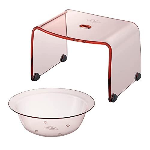 【セット品】 リス フランクタイム 風呂椅子 & 洗面器 クリアピンク バスチェアー S 高さ 20cm & ウォッシュボール S