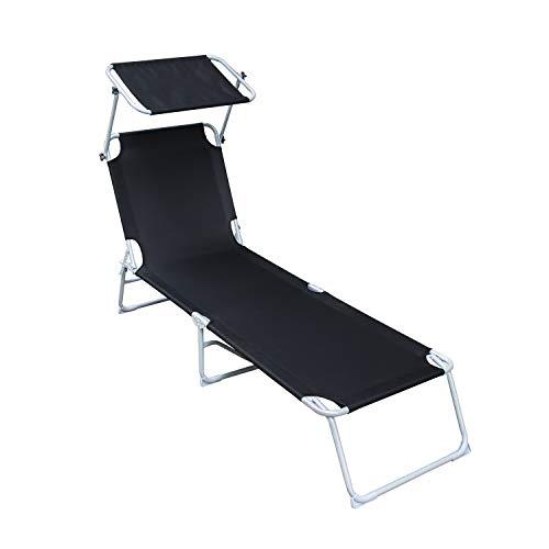 VINGO Klappliege Hawaii,Sonnenliege Relaxliege Strandliege Gartenliege,Liegestuhl mit Sonnendach,klappbar, leicht,189x55x27cm, bis 110 kg belastbar,schwarz