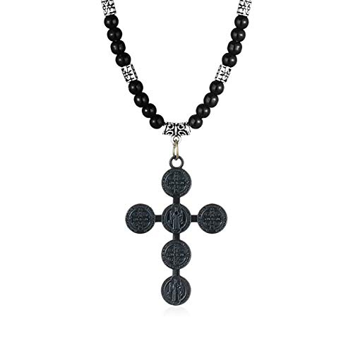 N/G Collar de Cruz de Jesús religioso para Hombre, Collar de Medalla para Hombre, Cadena de Cuerda de Cuentas de Piedra, Caja de joyería Unisex de Bronce Negro a Juego