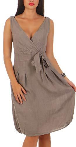 Malito Damen Leinenkleid im Klassik Design | Elegantes Cocktailkleid | schickes Abendkleid | Partykleid - A Linie 8147 (Fango, XXL)