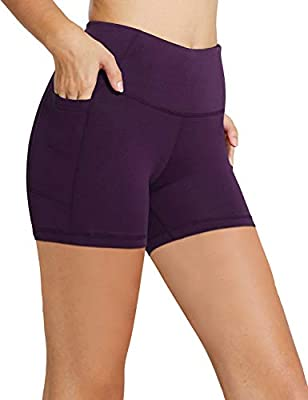 "BALEAF Women's 5"" High Waist Workout Yoga Running Compression Exercise Volleyball Shorts Side Pockets Purple XS"