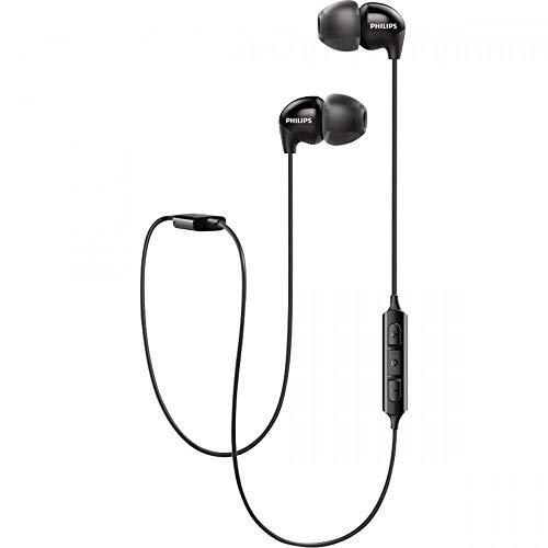 Philips UpBeat SHB3595 - Auriculares inalámbricos (hasta 6 Horas de Tiempo de reproducción, micrófono en línea), Negro, Una Tall