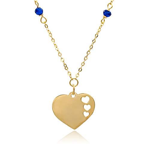 Tala - Collar de mujer de oro amarillo de 14 quilates. Collar con turmalina azul, colgante de corazón. Peso: 1,2 g. Cadena ajustable.