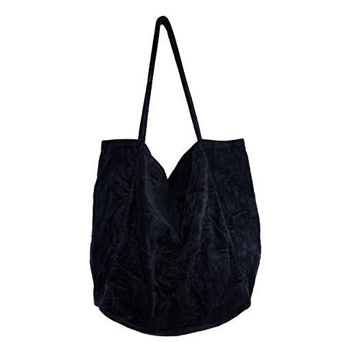 Women Corduroy Tote Bag, Large Casual Hobo Handbags with Inner Pockets, Shopping Shoulder Bag Purse Crossbody Satchel Handbags for Work Travel (Black)