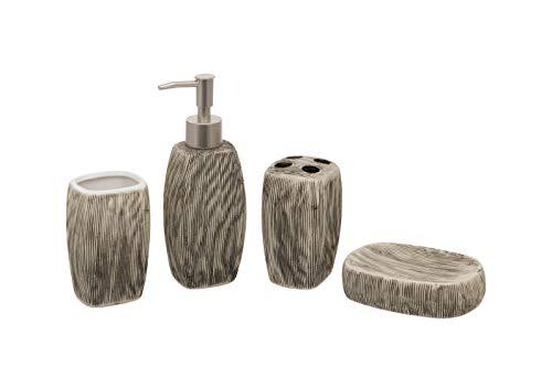Set de baño ovalado gris de 4 piezas – Dispensador de jabón/loción, soporte para cepillo de dientes, vaso, jabonera