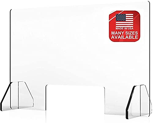 Countertop Desk Sneeze Guard- Protective Partition, Plexiglass Shield Barrier for Coughing, Sneezing, Droplets - Acrylic Divider Panel