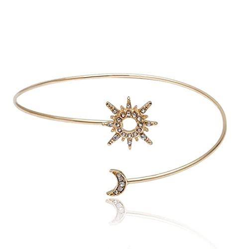 allforyou Simple Trendy Zircon Rhinestone Star Moon Brazo Superior Brazalete de Brazalete para Las Mujeres Regalo de joyería de Cadena de Brazo geométrico Ajustable XR2267