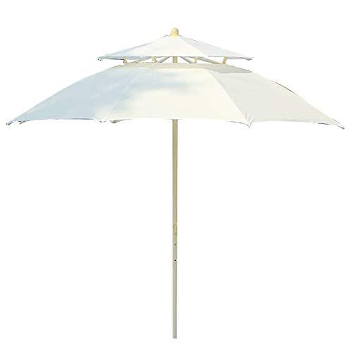 Gartenschirm, Runder Terrassenschirm Mit Kurbel Und Dreischichtigem Regenschirmskelett,2.4m Außen Markise Sonnenschirm Wasserdicht Und UV-Schutz