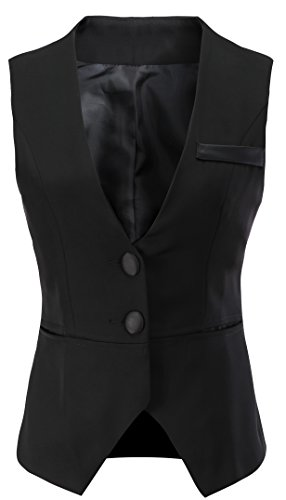 "Vocni Women V-Neck Business Slim Fit Skinny Button Down Suit Dressy Vests Waistcoat,Black,US XXL (Bust 49.06""),Tag 9XL"