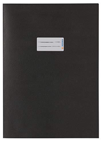HERMA 7096 Papier Heftumschlag DIN A4 mit Beschriftungsfeld, aus kräftigem Recycling Altpapier und satten Farben, Heftschoner für Schulhefte, schwarz