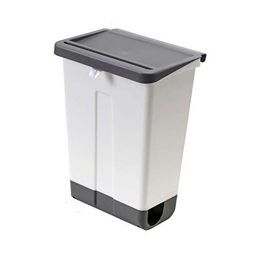 NYKK Bote de plástico de Cocina de Cocina Multifuncional Puede Blanco Montaje Montaje Puede con LA Tapa Puerta de gabinete de la Basura Simple de la Tapa o Debajo del Fregadero