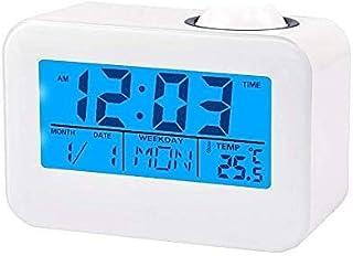 Haofy Projektion väckarklocka, LCD-display vägg centrering digital väckarklocka röststyrning tidsprojektor, temperatur, sn...