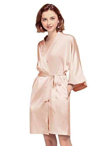 AW BRIDAL Robe sedoso Tallas grandes Kimono corto Mujeres Satén Albornoz Ropa de dormir para novias Birdesmaids Regalos, Rosa XL