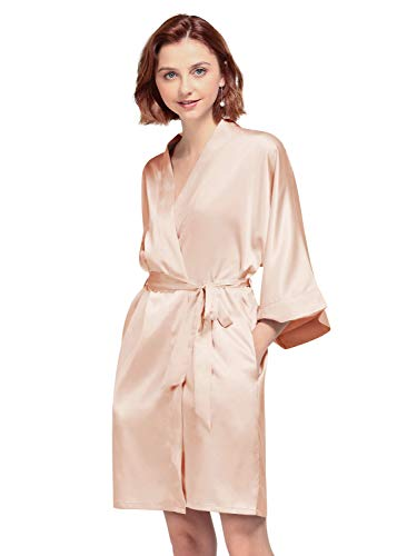 AW BRIDAL Women's Silky Robe, Satin Kimono Bathrobe for Wedding Party Brides Bridesmaids Loungewear, Shell Pink S
