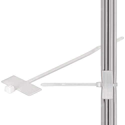 100x Kabelbinder | 100 x 2,5 mm | mit Beschriftungsfeld | Feldgröße: 24 x 12 mm | beschriftbar selbstsichernd | Weiß Transparent | 100 Stück