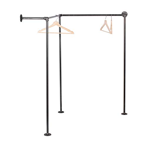 Pipe Decor Freestanding Industrial Pipe Clothing Rack, Commercial or Residential Wardrobe Clothes Display, Heavy Duty Rustic Vintage Steel Grey Black Metal Garment Frame, Corner Design