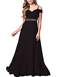 Black Formal Bridesmaid Sleeveless Gown With Rhinestones