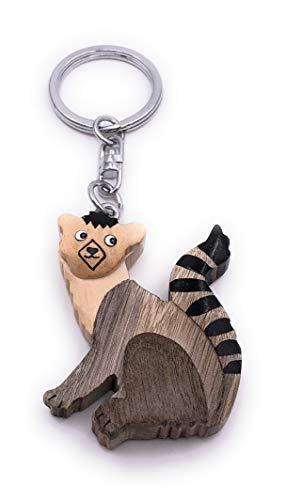 H-Customs Ciondolo portachiavi in legno fatto a mano in nobile scimmia figurina Lemu