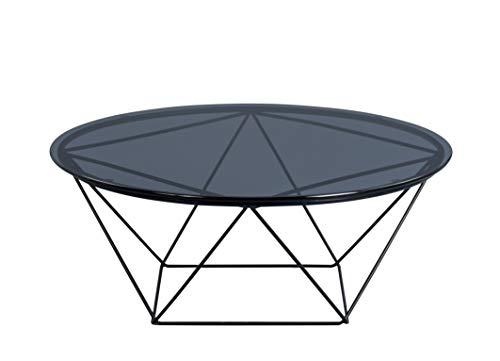 HomeTrends4You Nairo 2 Couchtisch/Beistelltisch, Glas, grau, Durchmesser 90cm, Höhe 36cm