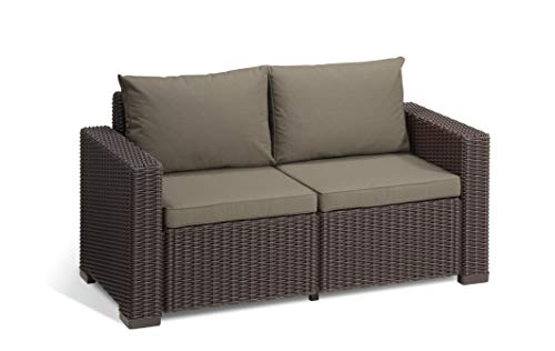 'Allibert by Keter' Gartenlounge Sofa California 2-Sitzer, braun/panama taupe, inkl. Sitz- und Rückenkissen, Kunststoff, runde Rattanoptik