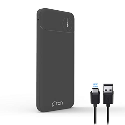 PTron Dynamo Pro 10000mAh Power Bank, 18W Fast Charge Type-C, Slim Design, Type-C & Micro USB Input Ports, Safe & Reliable, Li-Polymer Power Bank for Smartphones & Other Smart Device - (Black)