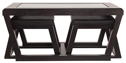 Ashley Furniture Signature Design - Kelton Coffee Table with 2 Stools - Cocktail Height - 3 Piece Set - Espresso Brown with Glass Top