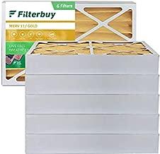 FilterBuy 16x25x4 Air Filter MERV 11, Pleated HVAC AC Furnace Filters (6-Pack, Gold)