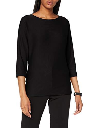 Street One Damen 315260 Fledermaus Schnitt mit dekorativer Knopfleiste im Rücken T-Shirt, Black, 40