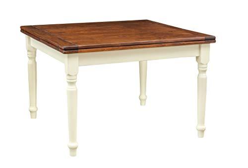Biscottini Table Extensible à Livres en Bois Massif de Tilleul - Style Country - Structure Blanche Antique - Structure Blanche vieillie Plan Noyer L 120 x P 120 x H 80 cm