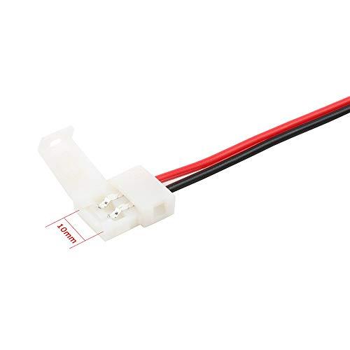 GENFALIN 10 unids/lote 8 mm 10 mm Conecte eléctrico de 2 pines Power Clip de encendido Adaptador para 3528/5050/5630 Cable de tira LED con PCB (Color : 10mm)