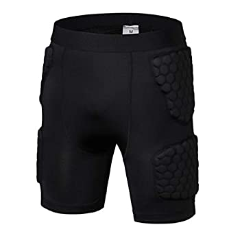 Men's Padded Basketball Shorts Padded Compression Shorts Impact Shorts Butt Hip Protective Gear Guard Impact Underwear Pads Black M