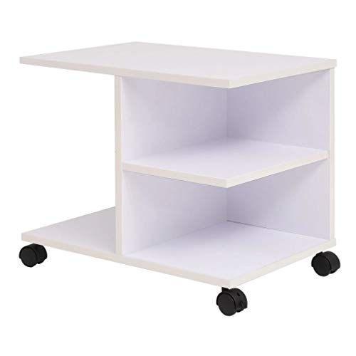 Serving Trolley with 4 Plastic Wheels, Utility Trolley, Transport Trolley, Side Trolley, Kitchen Trolley with 4 Plastic Castors for Study, Office or Living Room, White
