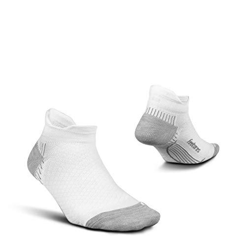 Feetures Plantar Fasciitis Cushion No Show Tab Sock (Large, White)