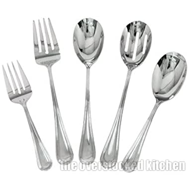 Complete Elegant Regency Line 5-Piece Flatware Serving Set, Utensil Serving S. by Update International
