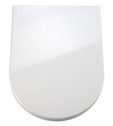 WENKO Premium WC-Sitz Palma - Antibakterieller Toilettensitz, Absenkautomatik, rostfreie Fix-Clip Hygiene Edelstahlbefestigung, Duroplast, 35.7 x 46.5 cm, Weiß