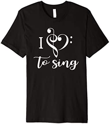 I Heart to Sing Music T Shirt Music Love Treble Bass Clef product image