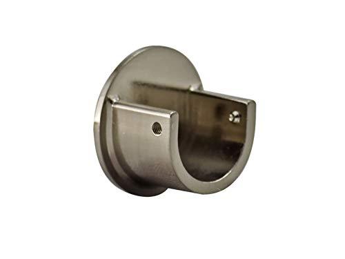 Your Home Online Gardinenstangen-Wandhalterung, Metall, 19 mm & 28 mm, Schwarz, Chrom, Messing, Kupfer (gebürstetes Chrom, 28 mm, Menge: 2 Stück)